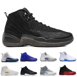 Wholesale Cheap Gold Rhinestone Shoes - wholesale Cheap New retro 12 12s XII man Basketball Shoes ovo white GS Barons TAXI Flu Game Playoffs flint grey French Blue Sneakers 36-47