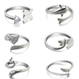 Wholesale Snake Wedding Rings - The new hot fashion cute animal dolphin ring opening minimalist temperament fox snake ring wings