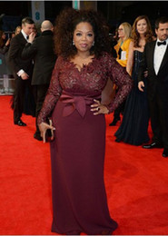 Wholesale donna brown - Plus Size Evening Dresses 2019 Abiti Da Cerimonia Donna V Neck Lace Satin Burgundy Long Sleeve Formal Gowns