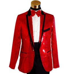 Wholesale Paillette Blazer - Wholesale- Plus Size Fashion Red Sequined Mens Wedding Groom Suits & Blazer Black Paillette Singer Performance Suits (Jacket+Pant) S-3XL