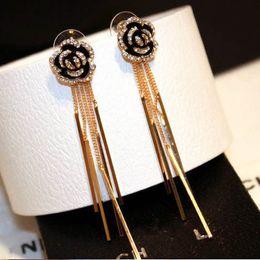 Wholesale camellia flower earrings - 2017 Camellia Flowers Earring Charm Jewelry Famous Luxury Brand Long Tassels Earring For Woman