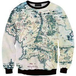Wholesale Lord Rings Map - Wholesale- New Fashion The Lord Of the Rings Sweatshirt Silk Road Harajuku Sweatshirts World Map Printed Hoodie Women Pullover Tops Hoody