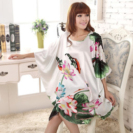 Wholesale Kaftan Dresses Wholesale - Wholesale- Summer New White Chinese Style Silk Rayon Robe Women's Sexy Loose Home Dress Vintage Kaftan Bath Gown Plus Size 0119