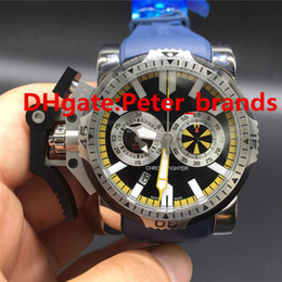 Wholesale Button Watch Batteries - AAA top quality Brand Chronofighter wristwatch luxury army big size quartz mens strong left button stainless steel blue rubber strap watches