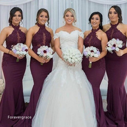 Wholesale Hot Arabic Wedding Dresses - 2017 Hot Purple Grape Mermaid Bridesmaid Dress Vintage Arabic Halter Neck Lace Top Wedding Guest Maid of Honor Gown Plus Size Custom Made