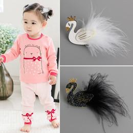 Wholesale Kids Animal Clips - 12Pcs Lot Cute Cartoon Black And White Swan Baby Hairpins Kids Hair Clips Princess Barrettes Girls Hair Accessories Beautiful HuiLin B27