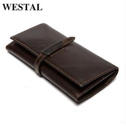 Wholesale Top Cowhide Leather Wallet - Wholesale- WESTAL Top Genuine Cowhide Leather Men Wallets Men's Long Wallets Coin Purse Man Clutch Bag Vintage Male Standard Wallet 6008