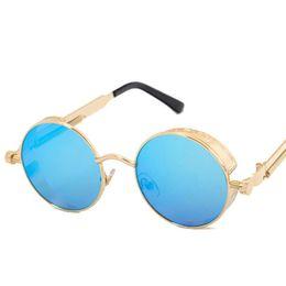 Wholesale Yellow Man Sunglasses Circle - Men Gothic Steampunk Sunglasses Coating Mirrored Round Circle Sun glasses Retro Brand Designer Vintage Gafas Masculino Sol UV400 New
