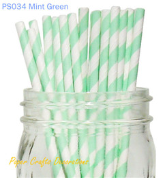 "Wholesale Mint Paper Straws Wholesale - Wholesale-Free Shipping 5Pack (pack of 25) 8"" Mint Green Striped Paper Party Straws Wedding Supplies 233 Designs Available"
