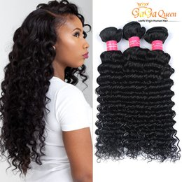 Wholesale Remy Deep Curly - Indian Remy Human Hair Weaves Unprocessed Indian Deep Wave Virgin Hair 4Bundles Deep Curly Wave 8A Indian Virgin Hair Products Free Shipping