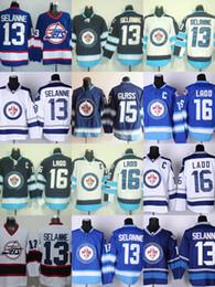Wholesale Xl Wine Glasses - Factory Outlet 2017 New Arrivals-Men's Winnipeg jets #13 Selanne #15 Glass #16 Ladd White Blue Best Quality ice hockey jerseys free shipping