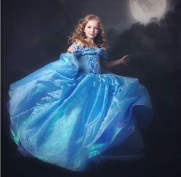 Wholesale Cinderella Gowns - Elegant Cinderella Pageant Dresses Off Shoulder Floor Length Flower Girl Dress Backless Applique First Communion Girls Gowns Custom Made