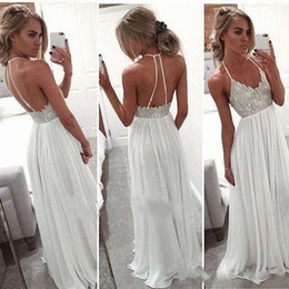 Wholesale Wedding Dresses Cheaper - 2017 New Sexy Backless Halter Beach Wedding Dresses Lovely Lace Bodice Chiffon Skrit Summer Cheaper Sexy Bridal Gowns Backless