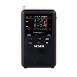 2019 degen rádios portáteis Atacado-2016 mais novo Degen de36 rádio FM estéreo FM1-2 / MW / SW1-8 Full-band receptor do mundo MP3 Player rádio digital portátil frete grátis degen rádios portáteis barato