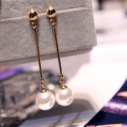 Wholesale Korean Chandelier Earrings - Korean Star The Same Paragraph Fashion Imitation Pearl Tassel Earrings Wholesale Jewelry Earrings Female Long Section Vintage