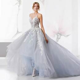 Wholesale High Low Layered Wedding Dress - 2017 Layered Tulle Applique Beach Wedding Dress Sheer Neck Floral Lace Bridal Gowns High Low Skirts Backless Wedding Dresses