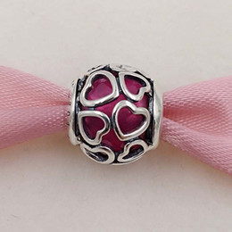 Wholesale Valentines Day Flowers - Valentines Day Gifts 925 Sterling Silver Beads Cerise Encased In Love Charm Fit European Style Brand Bracelets ALE Snap Jewelry 792036NCC
