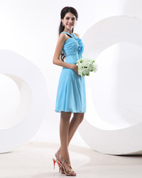 Wholesale Women S Dresses Size 12 - Blue Chiffon Short Bridesmaid Dresses With Flowers Girls Wedding Party Gown Special Occasion Gown For Women Custom Size Color