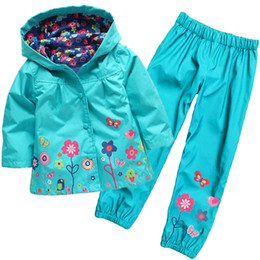 Wholesale Boys Hooded Raincoat - Wholesale- 2016 new children waterproof suit (hoodie + pants) Children's printed suit Girls fashion suits Girls raincoat suit Kids clothes