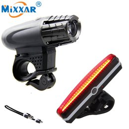 Wholesale bicycle built - Wholesale- RU USB Rechargeable Taillight MTB Safety Lamp Built-in Battery Waterproof LED Bike Front Rear Light Bicycle Headlight Cycling