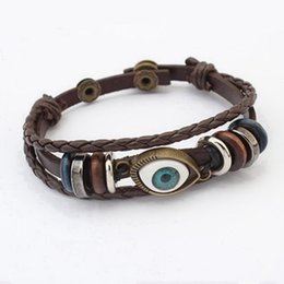 Wholesale Handcraft Beads - 1pcs 2017 Fashion Ethnic Handmade Handcraft Wrapped Beads Multilayer Leather Rope Eye Bracelet New Jewelry Lovely Fashion Accessories