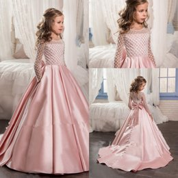 dresses for little girls Promo Codes - Blush Pink Sparkly Beaded Little Princess Girls Pageant Dresses 2017 Modest Long Sleeve Pageant Dresses for Teens with Bow