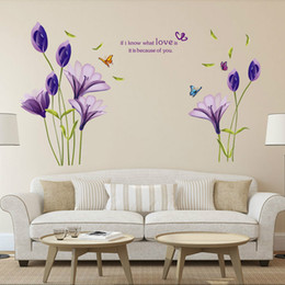 removable wall sticker plane Promo Codes - 7244 Warm Romantic Purple Tulip Flower Wall Stickers DIY Living Room TV Sofa Background Home Decor Mural Decal