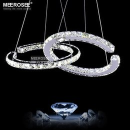 Wholesale Mounting For Diamond Pendant - Modern LED Diamond Pendant Light Fixture LED Crystal Lighting Lustres Hanging Drop abajur Lamp Double Rings Lightings For Dining Room