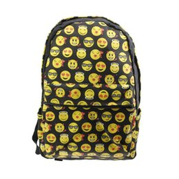 Wholesale Funny Cartoon Bags - 2017 Emoji smiley faces backpack canvas full version of the printed Backpacks funny fashion school bag