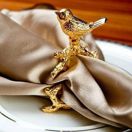 Wholesale Gold Dining Table - Luxury High-grade Gold Bird Napkin Ring Serviette Holder Design Club Hotel Restaurant Dining Table Decoration ZA3646