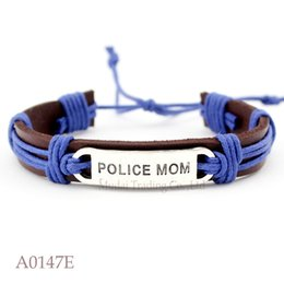 Wholesale Halloween Women Police - (10PCS lot) Police Mom Adjustable Leather Cuff Bracelet for Men Women Back the Blue Casual Wristband Jewelry