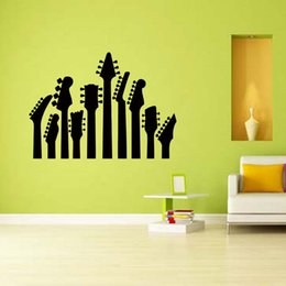 Wholesale Sky Blue Guitar - For Row Of Guitar Necks Removable Wall Art Sticker Music Vinyl Decal Rock Silhouette Guitar Heads Bedroom Sitting Room Diy