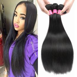 Wholesale Straight Brazilian Hair Bundle Deals - 8A Mink Brazilian Virgin Silk Straight Human Hair Extension Human Hair Weaves Peruvian Malaysian Indian Hair Bundles Deals Free Shippiing