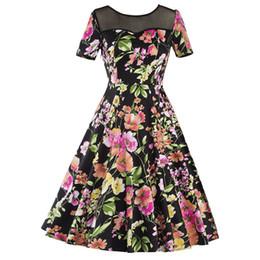 Wholesale Tea Length Slim Dresses - Women's Summer Short Sleeve See Through Mesh Slim Floral Prints Casual Eleagnt Garden Tea Party Evening Sexy Swing Dress