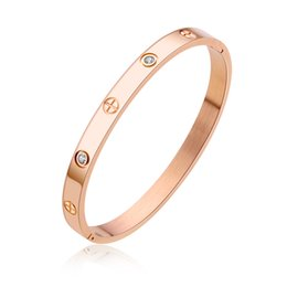 Wholesale 18k Gold Couple Ring - Fashion style Top quality 316L Stainless steel silver rose gold gold screw love couples Bangle for wome with crystal