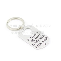 "Wholesale Heart Shape Tags - Wholesale-2015 Teacher's Jewelry Teacher Gifts "" It Takes a BIG Heart to Help Shape Little Minds"" Silver Pendant Necklace Dog Tag Keychain"
