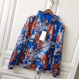 Wholesale Jacket Zipper Pocket - Fashion Outdoor Multicoloured Bengal Tiger Blue Jungle Jacket Autumn Sunproof Windproof Waterproof Men Women Luxury Zipper Anti UV Skin Coat