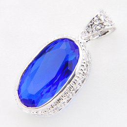 Wholesale Sterling Silver Charms Wholesale Usa - Best Wholesle 5 Pieces Vintage Royal Style Blue topaz 925 Sterling Silver USA Israel Wedding Engagement Pendants Weddings