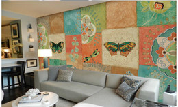 Wholesale Modern Collage - 3d wallpaper for room Pastoral Retro Lovely Pattern Butterfly Tile Box Collage Background Wall bathroom 3d wallpaper