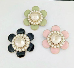 Wholesale Large Pearl Brooch - French &#67hanel flower large pearl brooch 3 color + box