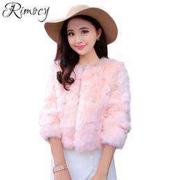 Wholesale Mink Fur Shorts - luxury pearls women winter short faux fur coats fashion imitation mink fur pink jackets woman elegant warm outerwear 2017
