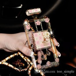 Wholesale Crystal Diamond Leather Case Iphone - Luxury Perfume Bottle Diamond Crystal Metal Chain TPU Clear Protective Case For iphone 7 6 6s Plus Samsung Galaxy S8 Plus S7 Cover