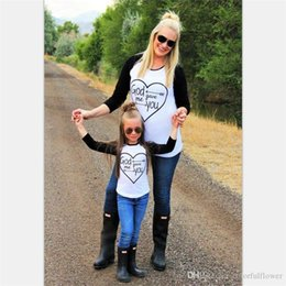 Wholesale Shirt Mother Daughter - Retail 2016 Hot Sell Family Matching Outfits long sleeve Black and white T-shirts mosaic heart Mother and daughter