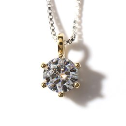 Wholesale Moissanite Yellow Gold - Queen Brilliance Solid 18K 750 Yellow Gold 0.5 ct F Color Lab Grown Moissanite Diamond Pendant Necklace For Women ccp