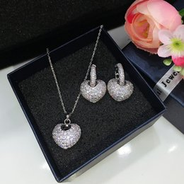 Wholesale Wedding Gift For Bride Gold - Luxury Bride Wedding Jewelry Set Top Quality White Gold Plated AAA Sparky CZ Heart Earrings Necklace for Girls Women for Party Wedding