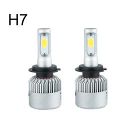 Wholesale H4 Xenon Lamps - Auto Car Light H7 Led H4 H1 H3 H8 H11 9005 9006 LED Headlights 6500K xenon white 72W 8000LM COB Chip Automobiles Parts Lamp Bulb
