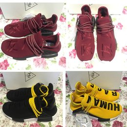 Wholesale Pw Black - Pharrell Williams x NMD Yellow Human Race Friends and Family Mens Running shoes Primeknit Boost PW HU Fashion Sports Trainer Women sneaker