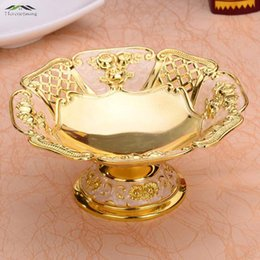 Wholesale Golden Dishes - New Shiny Golden Plated Fruit Dish Hollow Dessert Plate Fruit Rack Sweet Dishes European Plates For Wedding Or Party 17X17X9CM WD 52