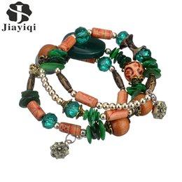 Wholesale Antique Bead Wood - Wholesale- 2017 New Vintage Bohemian Charm Bracelet Agate Wood Crystal Shell Antique Bead Wrap Bracelets For Women Fashion jewelry