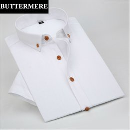 Wholesale Flax Dress Xl - Wholesale- BUTTERMERE Brand Mens White Dress Shirts Summer Short Sleeve White Cotton Flax Linen Shirt Solid Slim Fashion Clothes Camiseta